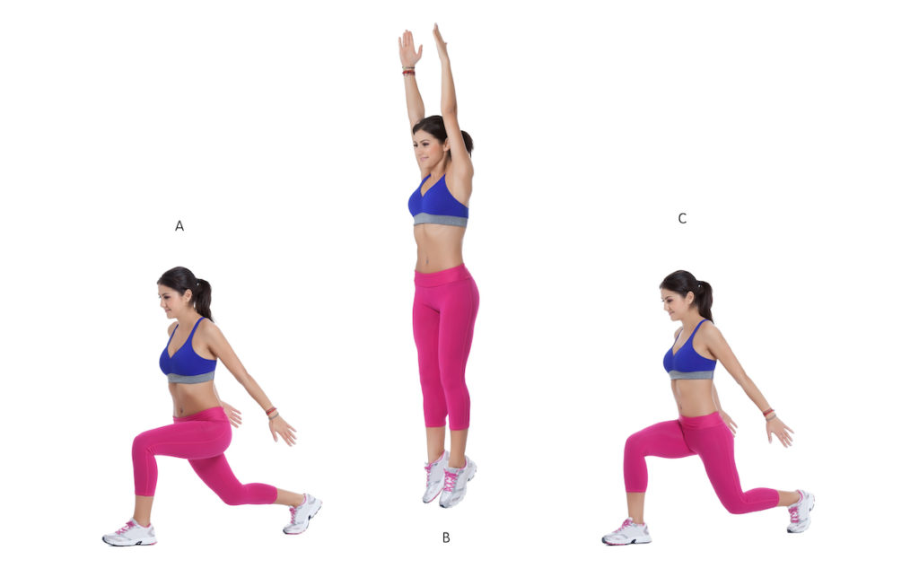 explosive lunges jumping lunges for Brazilian butt lift